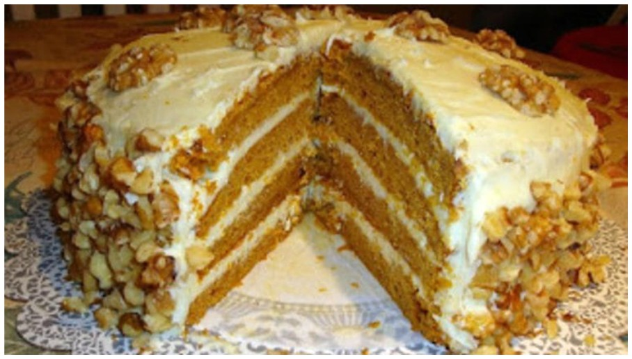 Four Layer Pumpkin Cake with Cream Cheese Frosting